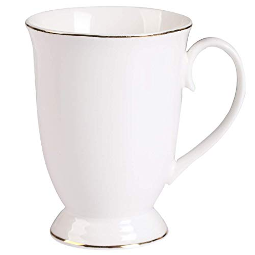 GuangYang Bone China Kaffee Mug 10oz Weiß Große Klassisch Vintage Design Golden Edge Kaffeetassen...