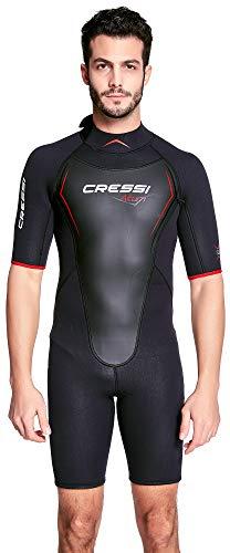Cressi Altum Wetsuit Shorty Herren Neoprenanzug Premium Neopren 3mm, Schwarz/Rot, XXXL