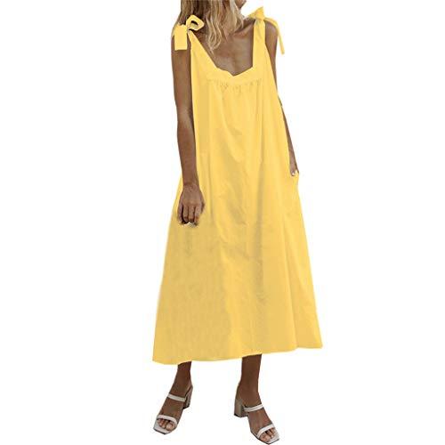 Wawer Mode Frauen Riemchen Bow solide Tasche Baumwolle leinen Casual Dress, Ärmellos Lose Kleid Baumwolle Leinen beiläufiges Boho Maxi Strand-Kleid Taschen - Shorts Gold Bow Kleid