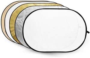 Collapsible 5-in-1 Reflector Disc RFT-06 Gold, Silver, Soft Gold, White, Translucent, 60 x 90 cm