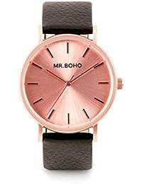 Reloj Mr.BOHO Mujer en Cuero Negro y Esfera Rosada. 00728631