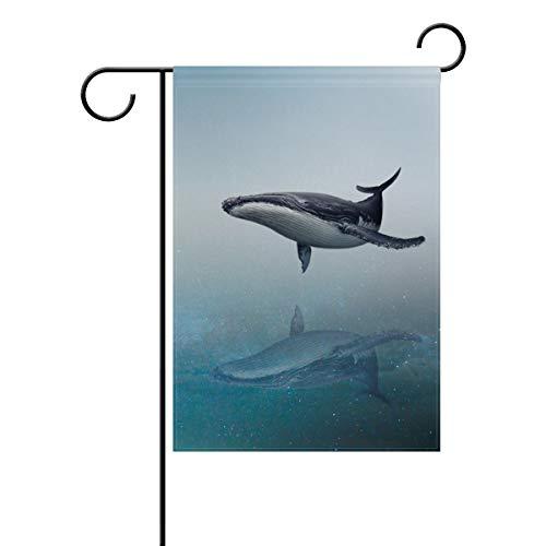 DEZIRO Cool Flying Whale Hofflagge Custom Garden Flag Double Sided, Polyester, 1, 28x40(in)