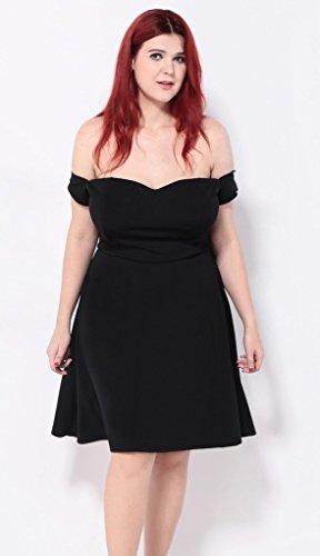 Smile YKK Femme Plus Size Robe Bustier de Soirée Moulante Swing Grosse Taille Uni Noir