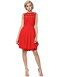 Rare Women Red Solid Fit and Flare Dress (EP1661)