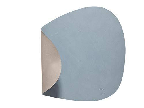 Set de table Lind DNA - Double face et double curve - En cuir - Coloris bleu et gris clair - Taille L - 37 x 44 cm