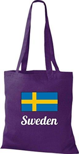 ShirtInStyle Sac en tissu Sac en coton Jute de pays Suède Suède - Ciel, 38 cm x 42 cm mauve