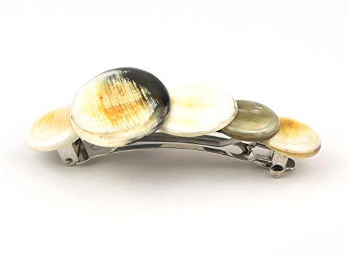 Petite Barrette clip pour cheveux - véritable corne naturelle - Galets