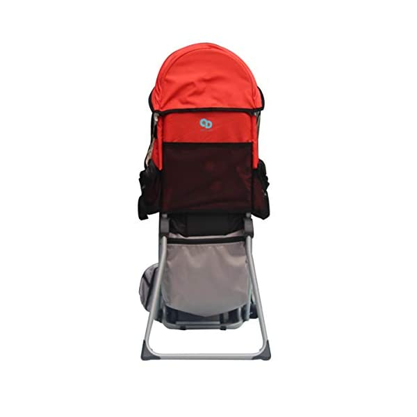 Baby Toddler Hiking Backpack Carrier w/Stand Child Kid Sunshade Shield XTLSTORE 【SAFELY AND COMFORTABLY】Your child will be carried safely in his comfortable seat with safety straps and stirrups. The Baby Backpack also has a removable sunshade that shields your little one from the elements. 【MULTIPLE POCKETS】Featuring multiple pockets, there are mesh pockets on the outer surfaces and extra a large pocket on the back to keep your wallet, cellphone, snacks, diapers and necessities. The carrier has pockets on both sides for your keys and water bottle also. 【ADJUSTABLE&FOLDABLE】Comfortable to carry and ride with thick pads and adjustable system to provide a comfortable fit for you and your child. Metal stands allow it to sit upright on a flat surface and can be quickly folded in when on the go. It can be folded by lifting the latch when not in use. 4