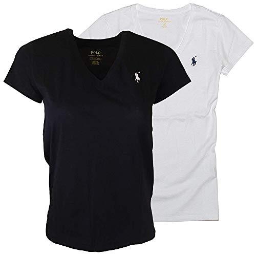 Ralph Lauren Damen-T-Shirt, V-Ausschnitt, 2er Pack - Mehrfarbig - X-Klein