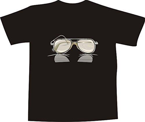 T-Shirt E247 Schönes T-Shirt mit farbigem Brustaufdruck - Logo / Grafik - minimalistisches Motiv - Sonnenbrille mit Spiegelung Mehrfarbig