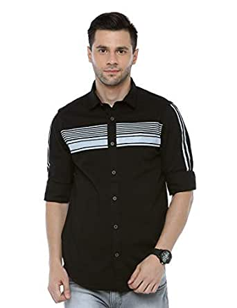 ADNOX Men's Cotton Plain Full Sleeve Slim Fit Shirt (Black, Medium)