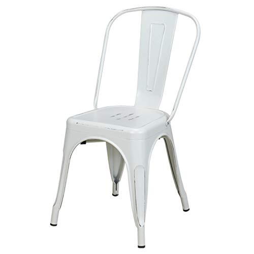 Duhome 1x Esszimmerstuhl Weiß Stuhl aus Metall/Eisen Used Look Vintage Farbauswahl Küchenstuhl stapelbar, robust & zeitlos 666