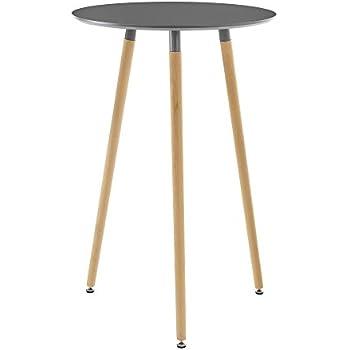ts-ideen Bistro Tisch Stehtisch Rund Holz Holzfarben Weiß