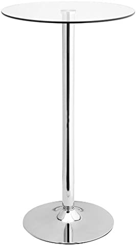 AMSTYLE Stehtisch ALTONA Bistrotisch runde Sicherheitsglasplatte Farbe Silber Glas Bartisch quadratisch Design rund Glasplatte Quadrat Platte drehbar Büro Messetisch modern Chrom
