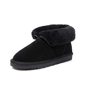 BYUYAN Stiefel Der Schnee Stiefel weiblichen Short-Shoes Pu-Dicke Studenten Kurze Stiefel mit flachen Base Plus Baumwolle Dicke Brot Schuhe