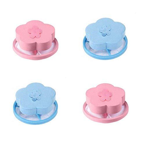yuiopmo 15 Mesh-Filterung Filterbeutel Laundry Clean, Waschmaschine Haarentfernungsgerät Filterbeutel, Wäschekugel Reinigung Benötigte (Blau+Rosa) -