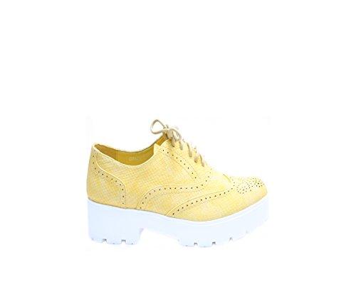 JustGlam - Femmes Chaussures Inglesine dentelle faux serpent plateau de haut talon en caoutchouc Jaune