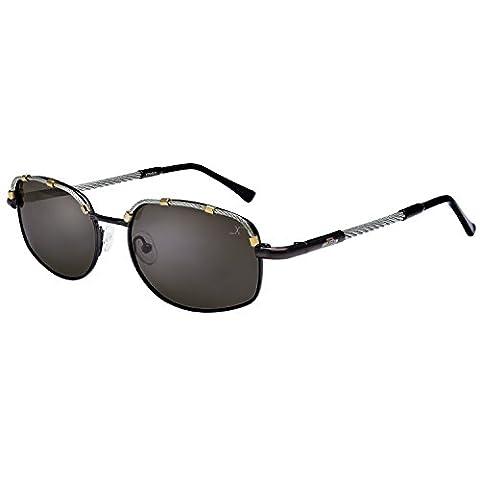 Xezo UV 400 Titanium Polarized Aviator Glasses with Steel Cable Wire, Dark Grey Metallic, 1 oz