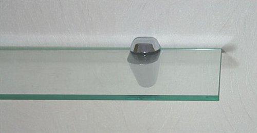 Set: Glasregal 80x20 cm / 8 mm Klarglas mit Clip XL blau / Glasablage
