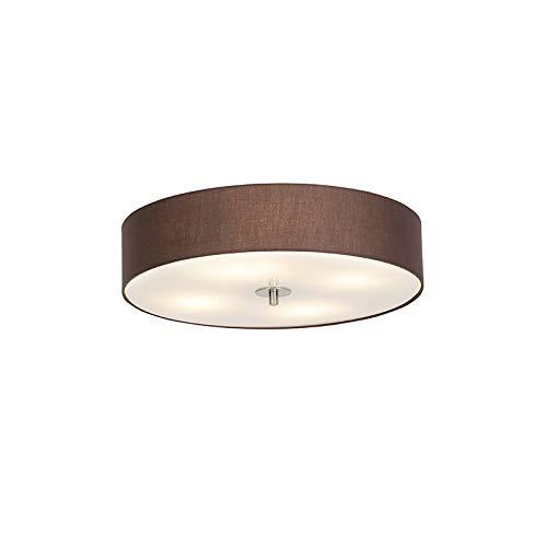 QAZQA Landhaus/Vintage/Rustikal/Modern Ländliche runde Deckenleuchte/Deckenlampe/Lampe/Leuchte braun 50cm - Drum mit Schirm/ 4-flammig/Innenbeleuchtung/Wohnzimmerlampe/Schlafzimmer /