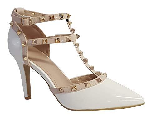 Damen-Sandalen mit spitzem Zehenbereich und Nieten, Stiletto-Absatz, Weiß - Weiß - White Pu - Größe: 38 EU (Weiße Nieten-pumps)
