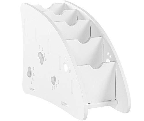 Coideal 4compartiments Plastique Wood Carving Organiseur télécommande Maquillage de téléphone Stylo crayon support Bureau Caddy-white White with Hollow Foot