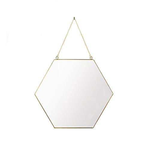 Wandbehang Spiegel, Hexagon Metall Geometrie Bad Kosmetikspiegel Goldenen Eingang Kreative Schlafzimmer Wohnzimmer Spiegel Tragbaren spiegel (Größe: 26 * 30 CM)