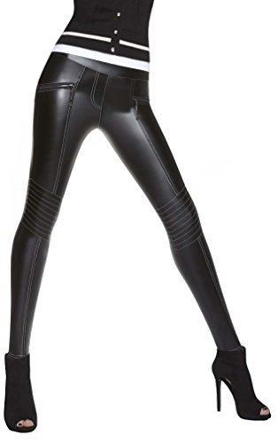 Firstclass Trendstore stilvolle Leggings in Leder-Optik * Gr. S M L * Skinny Pants Leggins Damenhose Jeggings (Florence S)