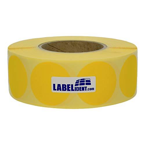 Labelident wiederablösbare Markierungspunkte Ø 50 mm rund, Papier gelb, 1000 Klebepunkte, auf 76 mm (3 Zoll) Kern (Gelber Kreis Papier)