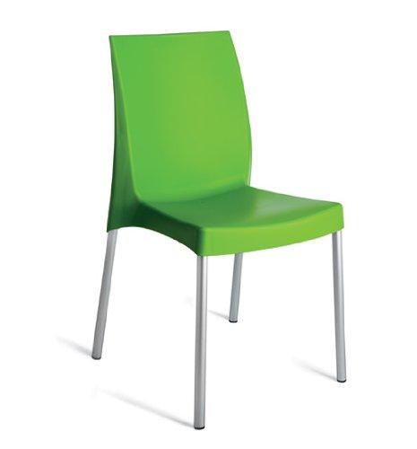 Grandsoleil Upon Boulevard Standard Chaise empilable avec Pieds en Aluminium, Polypropylène, Vert Pomme, 52 x 44 x 85 cm