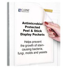 C-Line Products, Inc. : Pockets, Antimicrobial Peel/Stick, Letter, 10/PK, Clear -:- Sold as 2 Packs of - 10 - / - Total of 20 Each by C-Line