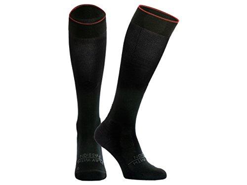 SPORTHACKS Socks - Kompressionsstrümpfe | High Peformance Stutzen | Training, Laufen, Fitness, Reisen und Regeneration - Größe IV (schwarz) (Kompressionsstrümpfe High)