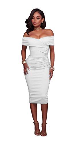 Honeystore Damen's Bleistiftkleid Partykleid weg Schulter Midikleid Bodycon Kurzarm Kleid Festliche Bandage Partykleider Weiß (Mieten Sie Online Kostüme)