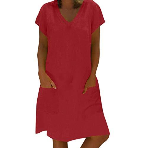 Momoxi Frauen Sommer T-Shirt Baumwolle Casual Plus Size Damen Leinen Kleid Kurzärmliges Cocktailkleid mit V-Ausschnitt mit Taschen Brautkleider hochzeitskleider Rock Lederjacke Burgund S