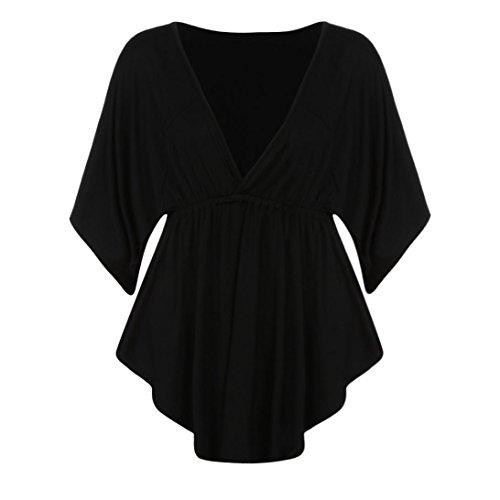 Chemise Femme,Manadlian Tuniques Femmes T-Shirt Plus Size Sexy V-Cou Batwing Manches Courtes Tops Blouse Noir