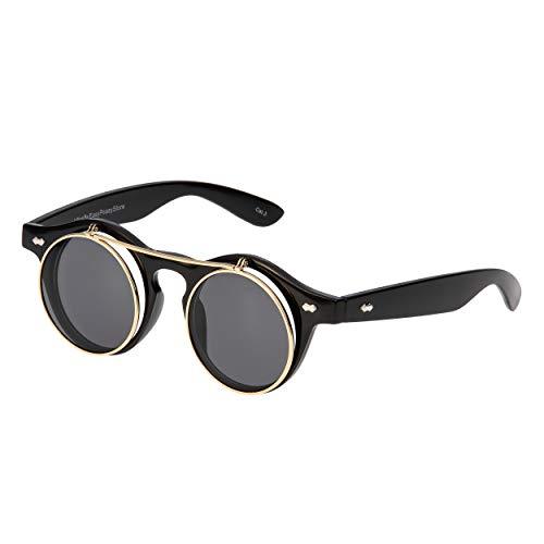 Ultra Schwarz Rahmen Schwarz Linsen Flip Up Ronde Steampunk Sonnenbrille Retro Frau Mann UV400 UVA UVB Vintage Victorian Kreis Retro Brille Unisex