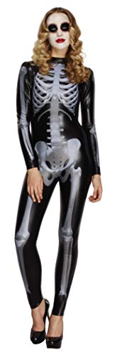 Fever, Damen Miss Whiplash Skelett Kostüm, Catsuit mit Skelett Aufdruck, Größe: S, 43838