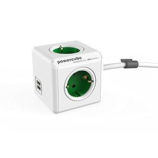 Allocacoc PowerCube Orginal Extended USB 4xSteckdose 2xUSB 1,5m Kabel grün 7014