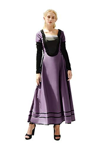 NSPSTT Damen Mittelalter Kostüm Burgfräulein Kleid Karnevals Maid Dress+2 Abnehmbare Hülse (Victoria Tanz Und Kostüm)