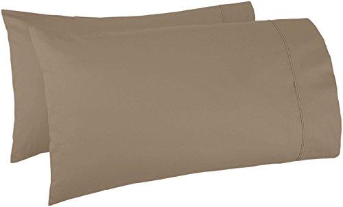 THREAD SPREAD Fadenstärke 100% ägyptische Baumwolle, Fadenzahl 1000, sehr weich, strapazierfähig und seidig weich (Standard-Kissenbezug) Standard Pillow case Taupe -