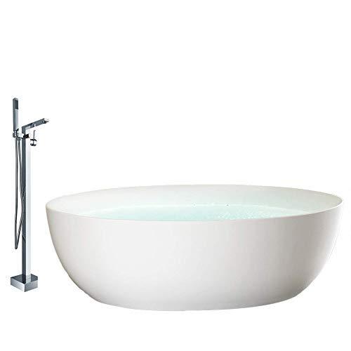 Freistehende Badewanne TERRA Acryl Weiß matt - 186 x 88 x 60 cm - Standarmatur wählbar, Standarmatur:Inkl. Standarmatur 1521, Siphon:Ohne Siphon