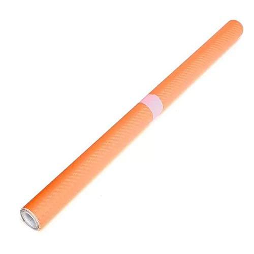 JenNiFer 2Mx50Cm DIY Gloss 3D en Fiber De Carbone Vinyle Wrap Rouleau Film Autocollant 8 Couleurs pour Voiture Véhicule - Orange
