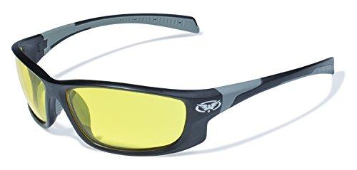 Global Vision Eyewear Hercules 5Sicherheit Gläser mit matt schwarz Rahmen und Gelb Tönung Linsen