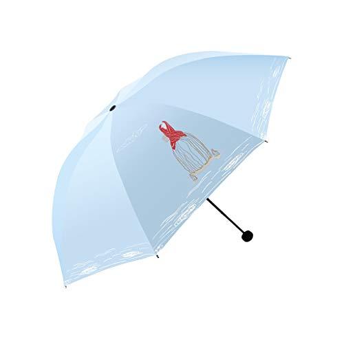 WM Home Sonnenschutz Sonnenschirm Manueller Regenschirm Schnelltrocknender Regenschirm Winddicht Kompakt Tragbar mit Schirm Blau (Color : Blue)