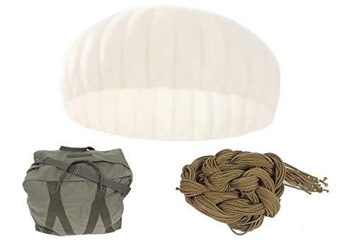 Unbekannt Set Fallschirm weiß + Packtasche + 1 kg Fangleinen gebraucht Sichtschutz Sonnenschutz Partydeko