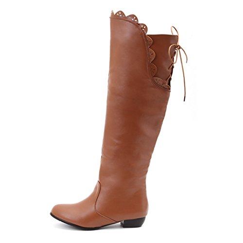 ZQ@QXIn Europa e negli Stati Uniti il codice con bassa stivali scarpe manicotto cavo alti stivali stivali brown