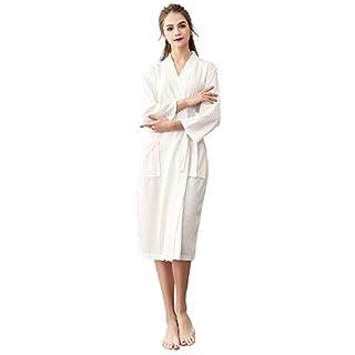 H HIAMIGOS Damen & Herren Bademantel Waffelpique Lang Kimono Robe Morgenmantel Saunamantel,weiß,M