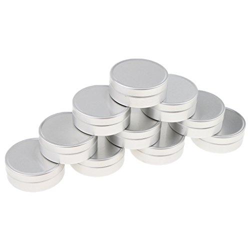 MagiDeal 10 Pcs 10ML/15Ml Boite Aluminium à Lèvres Baume Pots Maquillage Cosmetique à Crème Bocal Flacon Contenant Pommade - argent, B-10ML-4 x 1,4 cm