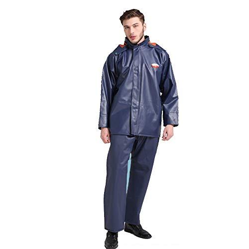 Geyao Regenmantel Regenhosenanzug Split wasserdichte Gummi-Doppelschicht-Verbund Reiten Take-Out Regenmantel Anzug Männer Frauen (Size : XXL)