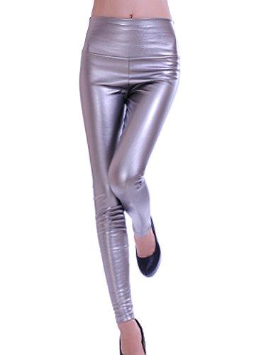Gladiolus Mujeres PU Cuero Leggings Skinny Elásticos Treggings Pantalones Cintura Alta Leggins Pantalon Plata L